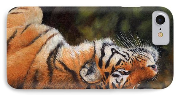 Resting Tiger Painting IPhone Case by David Stribbling