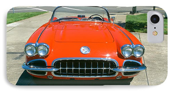 Restored Red 1959 Corvette, Front View IPhone Case by Panoramic Images