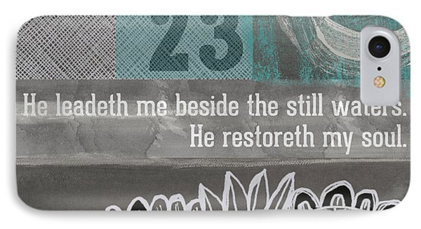 Restoreth My Soul- Contemporary Christian Art Phone Case by Linda Woods