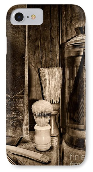 Retro Barber Tools In Black And White IPhone Case by Paul Ward