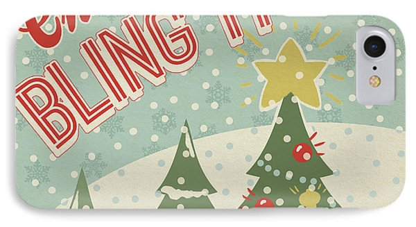 Retro Christmas Ix IPhone Case by Janelle Penner