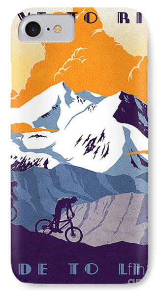Cross iPhone 7 Case - retro cycling poster Live to Ride Ride to Live  by Sassan Filsoof