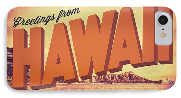 Retro Greetings From Hawaii Postcard IPhone Case by Mr Doomits