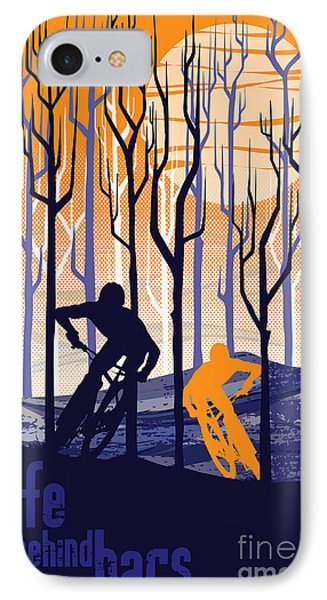 Retro Mountain Bike Poster Life Behind Bars IPhone Case by Sassan Filsoof