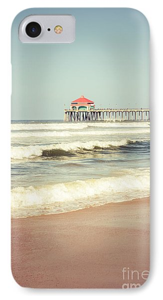Retro Photo Of Huntington Beach Pier  IPhone Case by Paul Velgos