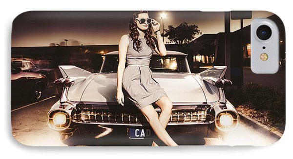 Retro Sixties Pinup Girl On Vintage Car IPhone Case