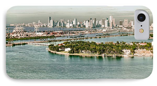IPhone Case featuring the photograph Retro Style Miami Skyline And Biscayne Bay by Gary Dean Mercer Clark