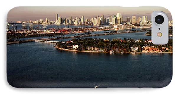 IPhone Case featuring the photograph Retro Style Miami Skyline Sunrise And Biscayne Bay by Gary Dean Mercer Clark