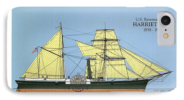 Revenue Cutter Harriet Lane IPhone Case by Jerry McElroy - Public Domain Image