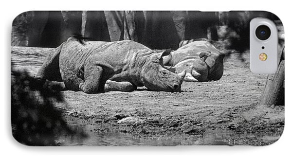 Rhino Nap Time IPhone Case by Thomas Woolworth