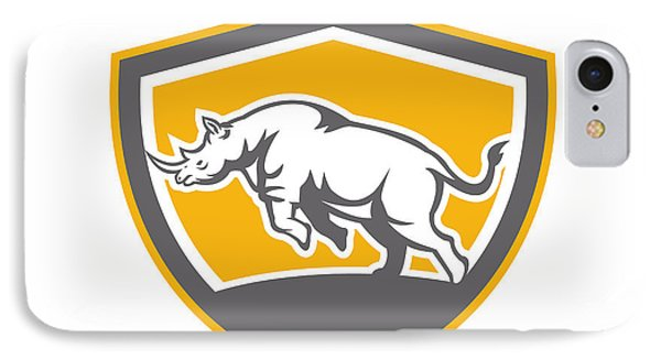 Rhinoceros Charging Side Shield Retro Phone Case by Aloysius Patrimonio