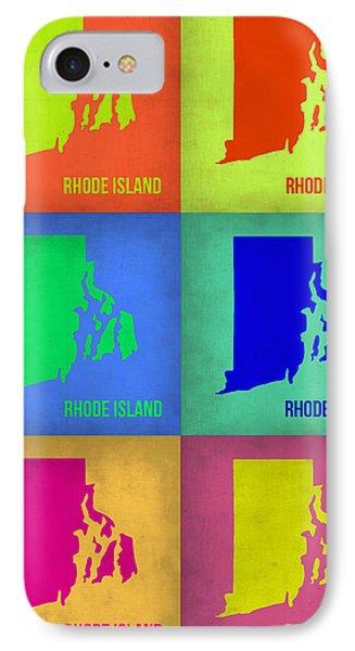 Rhode Island Pop Art Map 1 IPhone Case by Naxart Studio