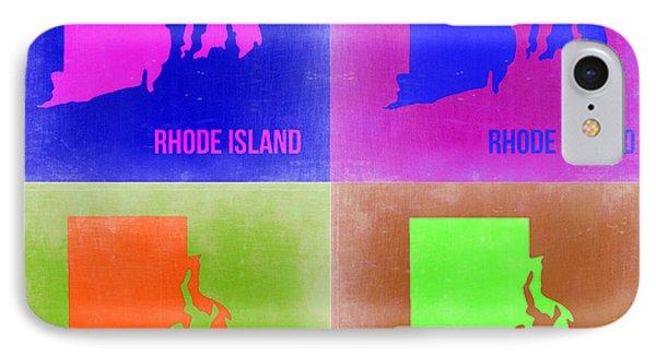 Rhode Island Pop Art Map 2 IPhone Case by Naxart Studio
