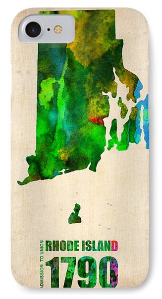 Rhode Island Watercolor Map Phone Case by Naxart Studio
