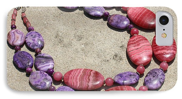 Rhodonite And Crazy Lace Agate Double Strand Chunky Necklace 3636 IPhone Case