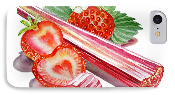 IPhone 7 Case featuring the painting Rhubarb Strawberry by Irina Sztukowski