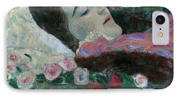 Ria Munk On Her Deathbed IPhone Case by Gustav Klimt