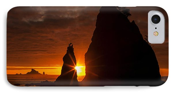 Rialto Beach Sunset Percusion IPhone Case by Mark Kiver