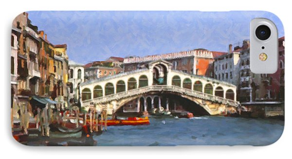 IPhone Case featuring the digital art Rialto Bridge Venice by Spyder Webb