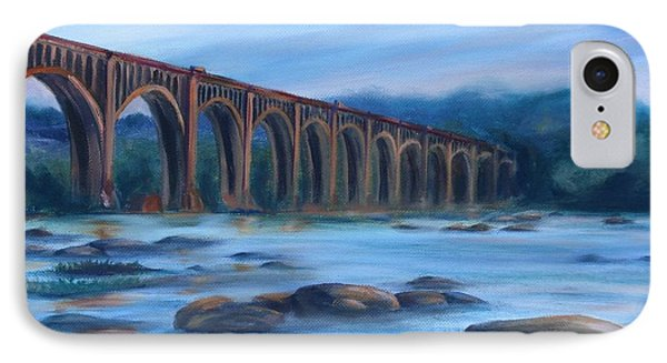 IPhone Case featuring the painting Richmond Train Trestle by Donna Tuten