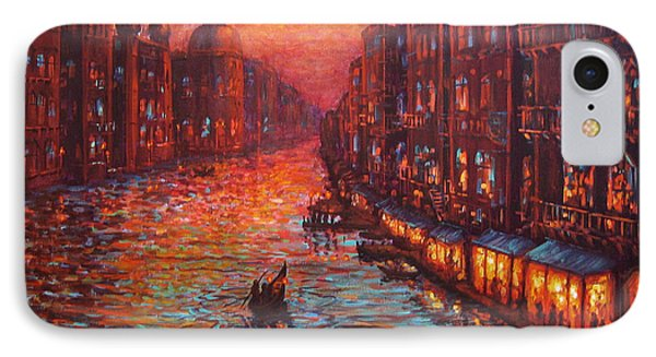 IPhone Case featuring the painting Ride On The Grand Canal Venice by Cheryl Del Toro