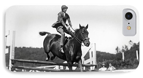 Rider Jumps At Horse Show IPhone Case by Underwood Archives