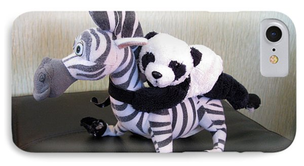IPhone Case featuring the photograph Riding A Zebra.traveling Pandas Series by Ausra Huntington nee Paulauskaite