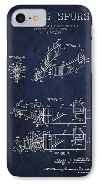Riding Spurs Patent Drawing From 1959 - Navy Blue IPhone Case by Aged Pixel