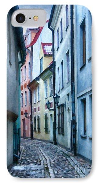 Riga Narrow Street Painting IPhone Case by Antony McAulay