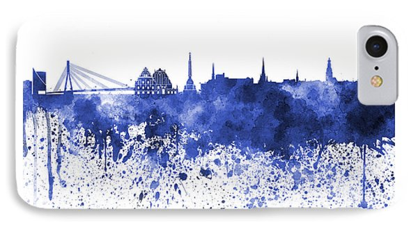 Riga Skyline In Blue Watercolor On White Background IPhone Case by Pablo Romero