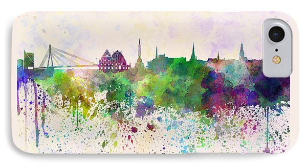 Riga Skyline In Watercolor Background IPhone Case by Pablo Romero