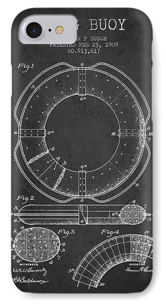 Ring Buoy Patent From 1909 - Charcoal IPhone Case