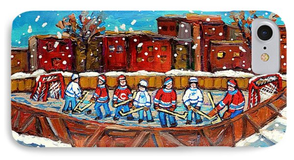 Rink Hockey Game Little Montreal Superstars Montreal Memories Snowy City Scene Carole Spandau IPhone Case by Carole Spandau