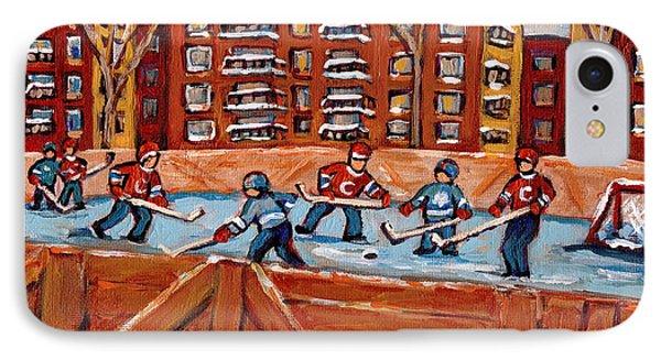 Rink Hockey Game-winter Scene Painting-montreal Street Scenes Phone Case by Carole Spandau
