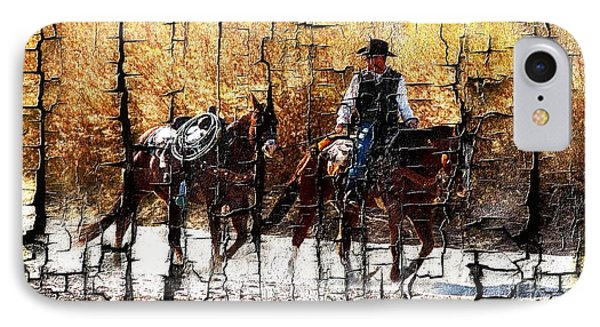 Rio Cowboy With Horses  Phone Case by Barbara Chichester