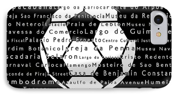 Rio De Janeiro In Words Black Soccer IPhone Case by Sabine Jacobs