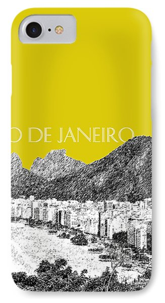 Rio De Janeiro Skyline Copacabana Beach - Mustard  Phone Case by DB Artist