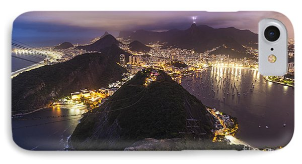 Rio Evening Cityscape Panorama IPhone Case by Mike Reid