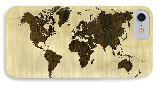 Rio Rosewood And Curly Maple World Map IPhone Case by Hakon Soreide