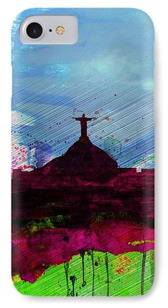 Rio Watercolor Skyline IPhone Case by Naxart Studio