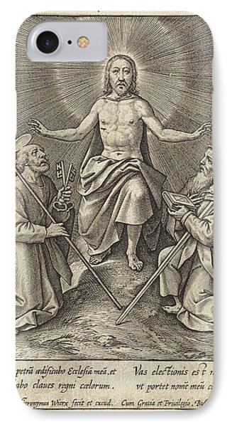 Risen Christ With Peter And Paul, Hieronymus Wierix IPhone Case by Hieronymus Wierix