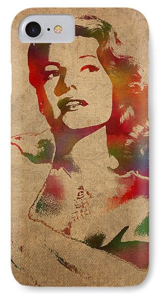 Rita Hayworth Hollywood Golden Era Actress Watercolor Portrait On Won Canvas IPhone Case