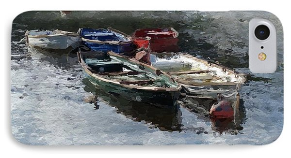 IPhone Case featuring the painting River Boats by Wayne Pascall