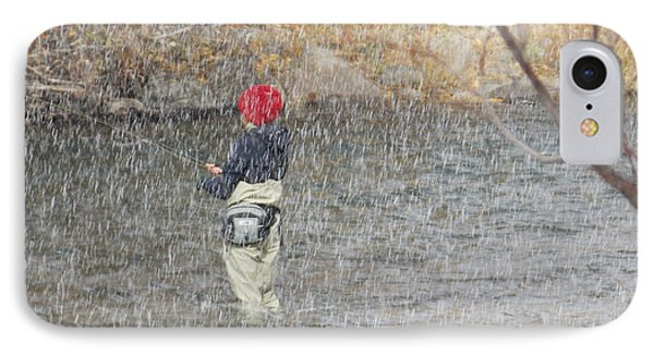 River Fishing In The Snow Phone Case by Brent Dolliver