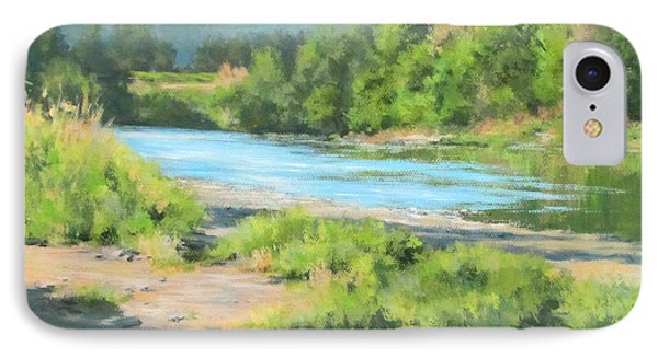 River Forks Morning Phone Case by Karen Ilari