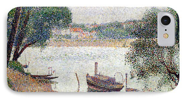 River Landscape With A Boat Phone Case by Georges Pierre Seurat