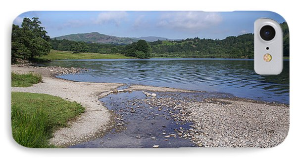 River Meets The Lake Rydal Water IPhone Case by Graham Hawcroft pixsellpix