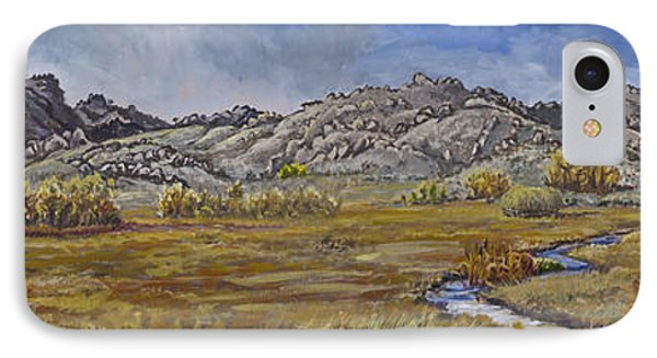 IPhone Case featuring the painting River Mural Autumn View  by Dawn Senior-Trask