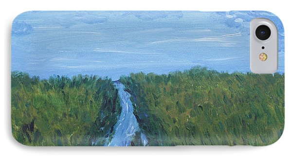 IPhone Case featuring the painting River Running Through The Grassland by Martin Blakeley