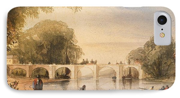 River Scene With Bridge Of Six Arches Phone Case by Robert Hindmarsh Grundy